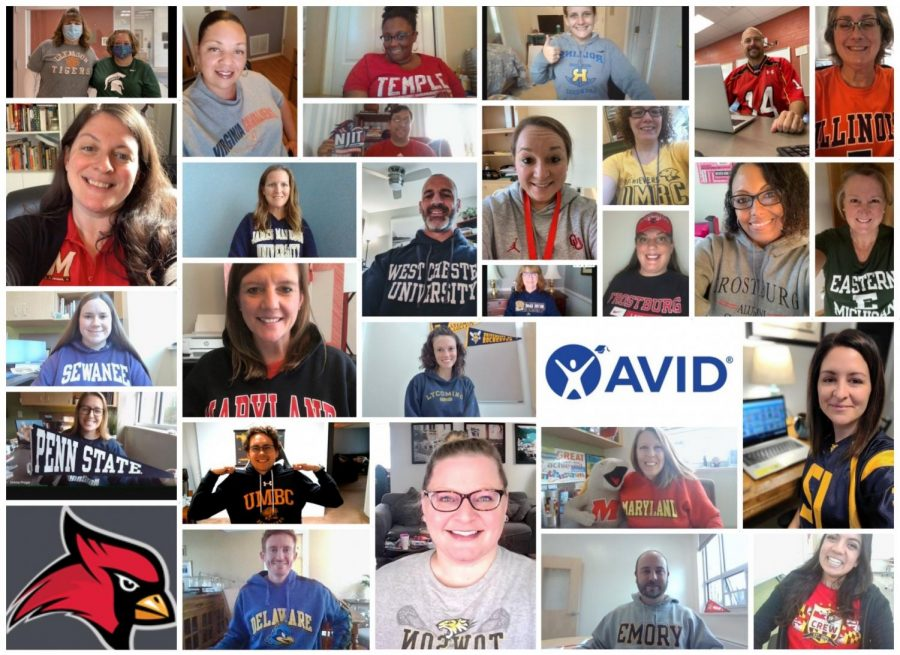 Mr. Scarlata, center in the blue West Chester University sweatshirt, made this picture of CrHS teachers in their college apparel for College Wear day, which is part of the AVID program.