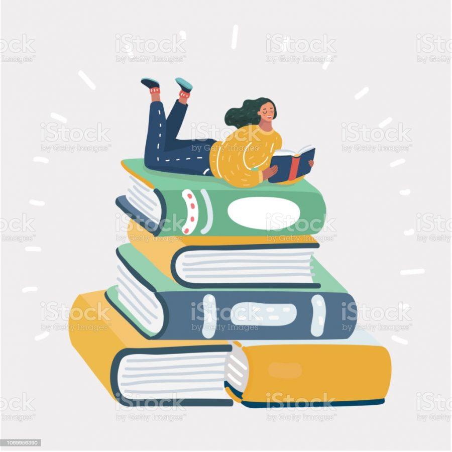 Vector cartoon illustration of cartoon woman reading book on stack of books